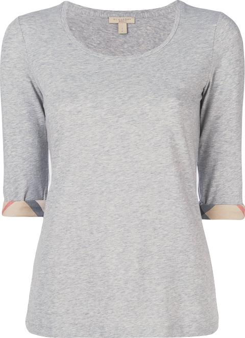 Checked Detail T Shirt Women Cottonspandexelastane S, Grey