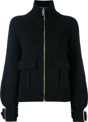 Buckle Cuff Ribbed Zip Cardigan Women Woolcashmere L, Black