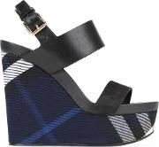 Checked Wedge Sandals Women Leather 40, Women's, Blue