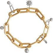 Crystal Charm Gold And Palladium Plated Bracelet
