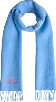 Embroidered Cashmere Fleece Scarf