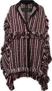 Fringed Oversized Cardi Coat Women Polyamidewoolmulberry Silk L, Women's, Black
