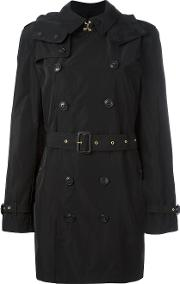 Hooded Trench Coat Women Polyestercottonlinenflax M, Black
