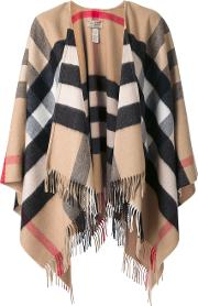 House Check Cape Women Cashmeremerino One Size, Camel