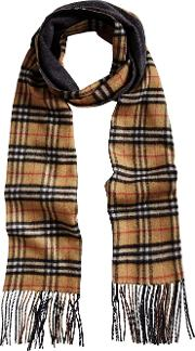 Long Reversible Vintage Check Double Faced Cashmere Scarf