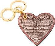 Sequin Heart Keyring Women Calf Leatherpvccalf Suede One Size