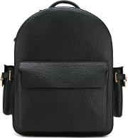 Top Zip Backpack Men Calf Leather One Size, Black