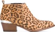 Animal Print Ankle Boots Women Horse Leatherleather 39, Nudeneutrals