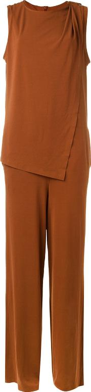 Layered Jumpsuit Women Polyesterspandexelastane S, Brown