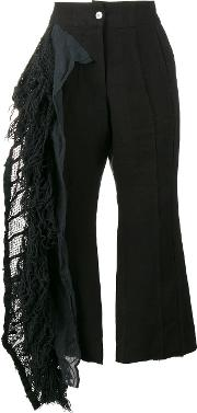 Lace Frill Cropped Trousers Women Cottonlinenflax L, Black