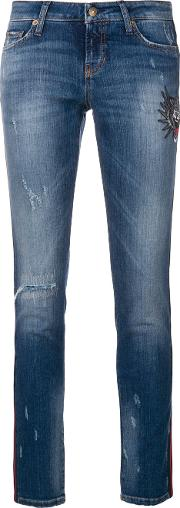 Embroidered And Distressed Cropped Skinny Jeans
