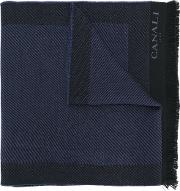 Canali Frayed Edges Scarf Men Wool One Size, Blue