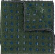 Canali Printed Pocket Square Men Wool One Size, Green
