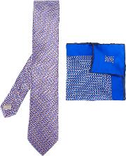 Dotted Pocket Square And Tie Set Men Silk One Size, Blue