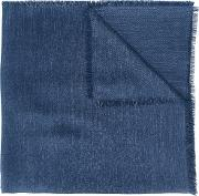 Frayed Edge Scarf Men Silk One Size, Blue