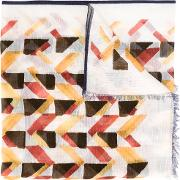 Geometric Pattern Scarf Men Cottonlinenflax One Size, Nudeneutrals