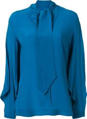 Capucci Pussy Bow Blouse Women Silk 40, Blue