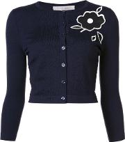 Embroidered Floral Cardigan Women Wool Xs, Blue