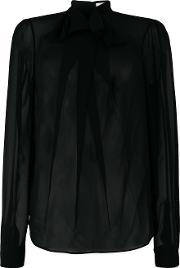 Carven Sheer Blouse With Ruffle Women Polyester 36, Black