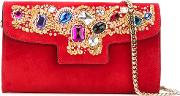 Jewelled Shoulder Bag Women Chamois Leathernappa Leather One Size, Red