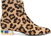 Leopard Print Daytime Boots Women Leathernappa Leathercalf Hair 405