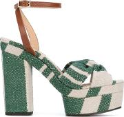 Patterned Platform Sandals Women Canvasleatherrubber 37, Green