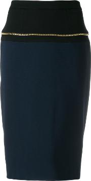 Cavalli Class Straight Pencil Skirt Women Polyamidespandexelastaneviscose 42, Blue
