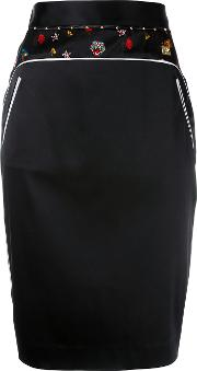 Embroidery Trim Pencil Skirt Women Silkspandexelastaneacetatepolyimide 42, Black
