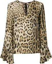 Flared Sleeved Leopard Blouse