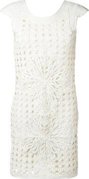 Layered Cut Out Dress Women Polyesterpolyimide 38, Women's, White