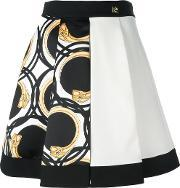 Printed Pleated Full Skirt Women Polyesteracetate 40, Women's, Black