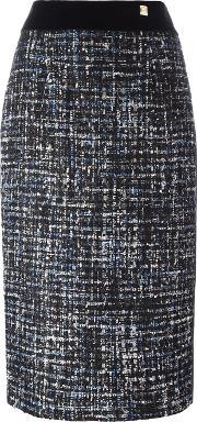 Tweed Pencil Skirt Women Cottonpolyamidepolyesterwool 42, Women's, Blue