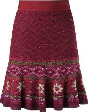 Tricot Flared Skirt Women Acrylicviscose G, Women's, Red