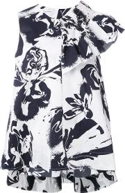 Abstract Print Ruffled Blouse Women Cottonother Fibers 44, White