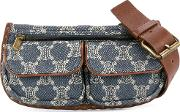 Celine Vintage Macadam Pattern Denim Belt Bag
