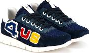 Lace Up Sneakers Kids Leatherpig Leathercalf Suederubber 33, Blue