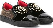 Slip On Sneakers Kids Leathermetal Other calf Suederubber 30, Girl's, Black