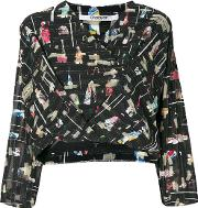 Chalayan Graphic Wrapped Front Blouse Women Polyester 44, Black