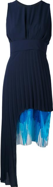Contrast Length Pleat Dress Women Silkpolyester 38, Blue