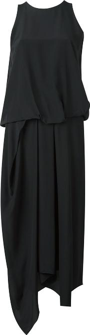 Tuck Drape Dress Women Silk 40, Black