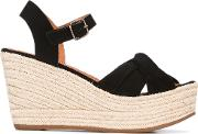 Wedge Sandals Women Leatherfoam Rubber 38, Black