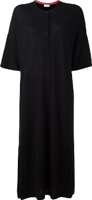 Button Jersey Dress Women Merino Xs, Black