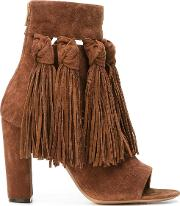 Fringed Open Toe Booties Women Leathersuede 37.5, Brown
