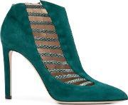 Strappy Snakeskin Effect 'azalea' Boots Women Leather 40, Women's, Green