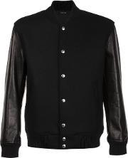 Classic Stadium Jacket Men Leathercuprocashmerewool 48, Black