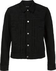 Distressed Denim Jacket Men Cotton 48, Black
