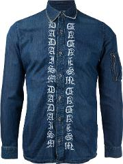 Embroidered Denim Shirt Men Cotton 46, Blue