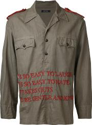 Embroidered Text Shirt Jacket Men Cottonlinenflax 48, Green