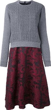 Cable Knit Lace Dress Women Cottonelastodiene 40, Grey
