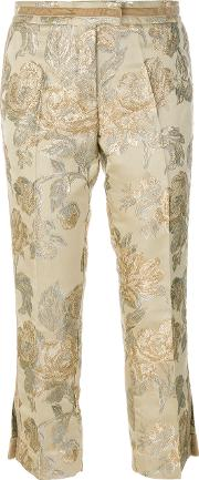 Christian Pellizzari Floral Jacquard Tailored Trousers Women Polyesteracetate 40, Nudeneutrals